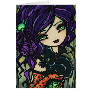 Vampire Black Cat Halloween Fantasy Fairy Art Card