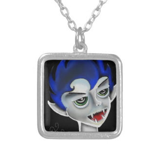 vampire boy silver plated necklace