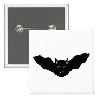 Vampire Cat Faced Bat Halloween Button