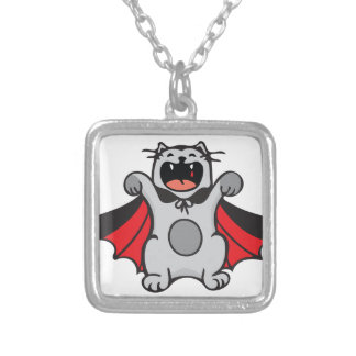 Vampire Cat Silver Plated Necklace