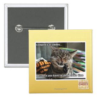 vampire cat smiles 15 cm square badge