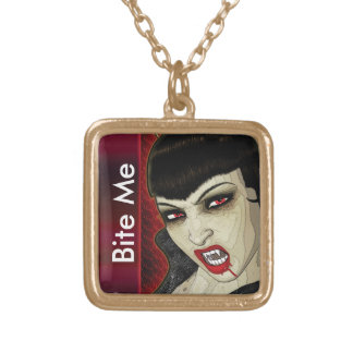Vampire face bite me blood gold plated necklace