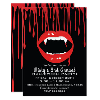 Vampire Fangs & Blood Dracula Halloween Invitation