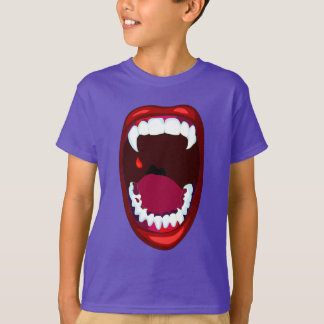 Vampire Fangs Campy Horror Show Teeth Red Lips Tshirts