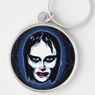 Vampire Girl (horror) Silver-Colored Round Key Ring