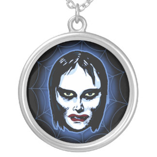Vampire Girl (horror) Silver Plated Necklace