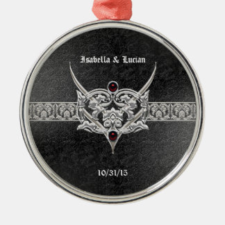 Vampire Goth Faux Leather Jeweled Wedding Metal Ornament
