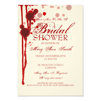 Vampire Halloween Bridal Shower Fake Blood Red Card