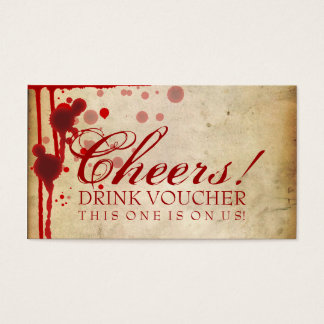 Vampire Halloween Drink Voucher Fake Blood Red Business Card