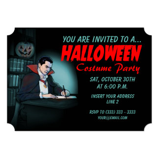 Vampire Halloween Party Card