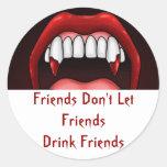 Vampire Halloween Teeth Round Sticker