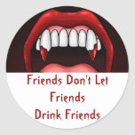 Vampire Halloween Teeth Round Stickers