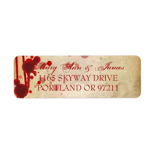 Vampire Halloween Wedding Address Fake Blood Red Return Address Label