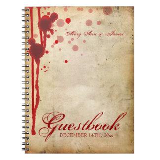 Vampire Halloween Wedding Guestbook Fake Blood Red Notebook