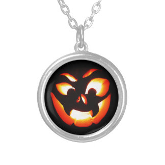 Vampire Jack-O-Lantern Silver Plated Necklace