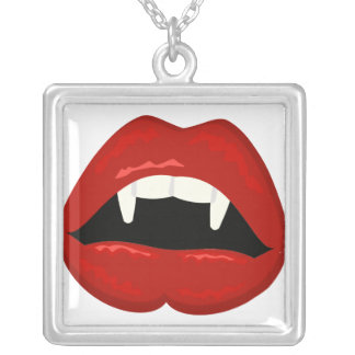 Vampire Lips and Teeth Sterling Silver Necklace