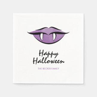 Vampire Lips Goth Happy Halloween Paper Napkins