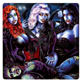 Vampire Metal Girls Square Wall Clock