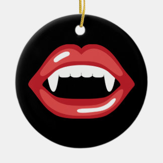 Vampire Mouth With Red Lips And Fangs Ceramic Ornament