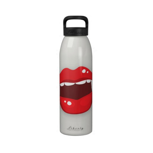Vampire mouth with red lipstick water bottle