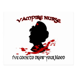 Vampire Nurse (I've Come To Draw Your Blood) Postcard