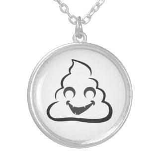 Vampire Poop Emoji Halloween Silver Plated Necklace
