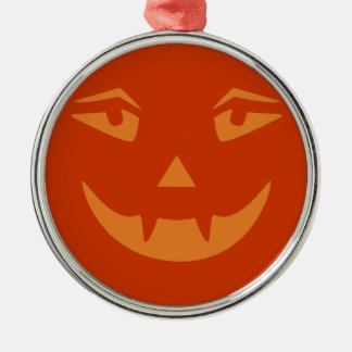 Vampire Pumpkin Face Silver-Colored Round Decoration