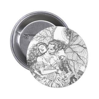 Vampire s Kiss by Al Rio - Vampire and Woman Art Pinback Button
