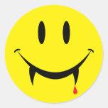 Vampire Smiley Face Round Sticker