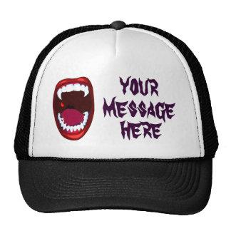 Vampire Teeth Demon Fangs Horror Show Your Message Trucker Hat