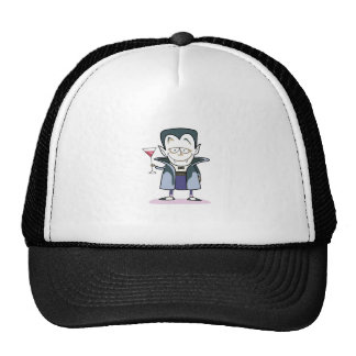 VAMPIRE WITH COCKTAIL TRUCKER HAT