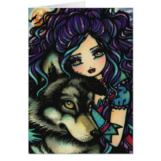 Vampire Wolf Moon Night Sky Bats Girl Art Card