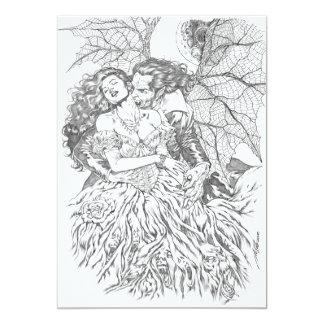 Vampire's Kiss by Al Rio - Vampire and Woman Art 13 Cm X 18 Cm Invitation Card
