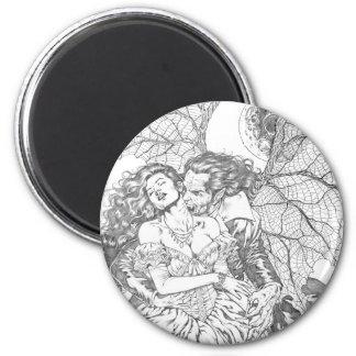 Vampire's Kiss by Al Rio - Vampire and Woman Art 6 Cm Round Magnet