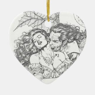 Vampire's Kiss by Al Rio - Vampire and Woman Art Ceramic Heart Decoration