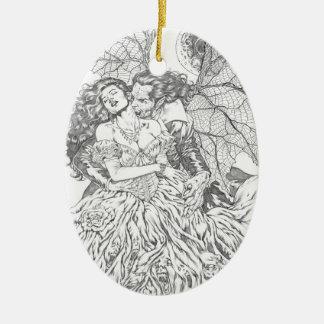 Vampire's Kiss by Al Rio - Vampire and Woman Art Ceramic Oval Decoration