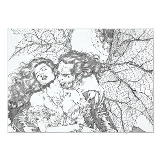"Vampire's Kiss by Al Rio - Vampire and Woman Art 5"" X 7"" Invitation Card"