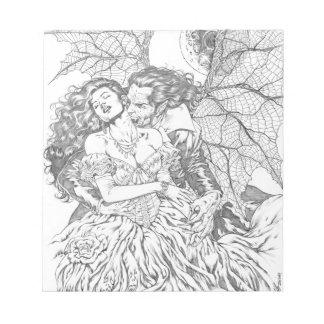 Vampire's Kiss by Al Rio - Vampire and Woman Art Memo Notepads