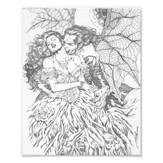 Vampire's Kiss by Al Rio - Vampire and Woman Art Photographic Print