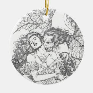 Vampire's Kiss by Al Rio - Vampire and Woman Art Round Ceramic Decoration