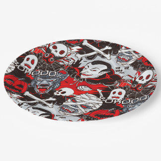 "Vampires Night Paper Plates 9"""
