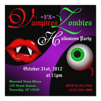 Vampires vs Zombies Halloween Party Invitations
