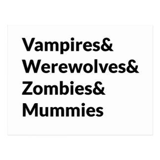 Vampires Werewolves Zombies Mummies Postcard