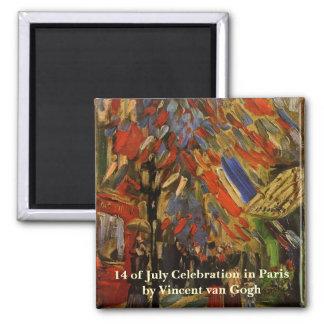 Van Gogh; 14th of July Celebration in Paris Square Magnet