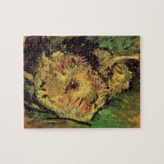 Van Gogh 2 Cut Sunflowers, Vintage Floral Fine Art Jigsaw Puzzle