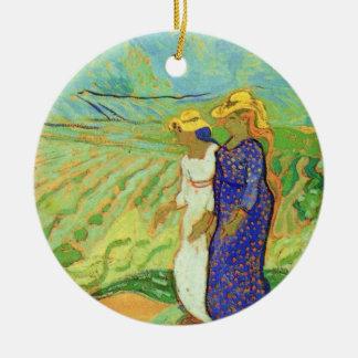Van Gogh, 2 Women Crossing Fields, Vintage Friends Round Ceramic Decoration