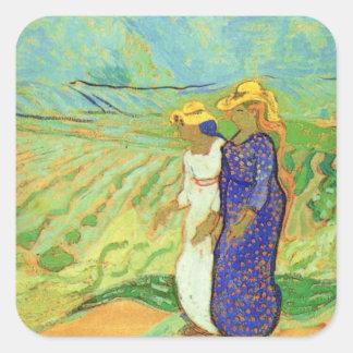 Van Gogh, 2 Women Crossing Fields, Vintage Friends Square Sticker