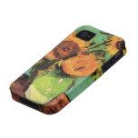 Van Gogh; 3 Sunflowers in a Vase, Vintage Flowers iPhone 4 Cases