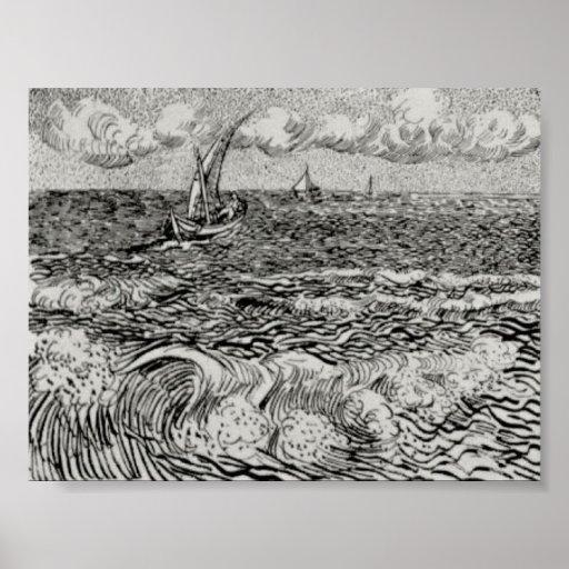 Van Gogh - A Fishing Boat at Sea Posters