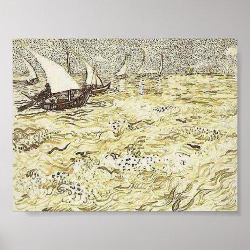 Van Gogh - A Fishing Boat at Sea Poster